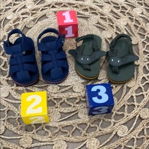 Gymboree Navy & Orange striped sandals